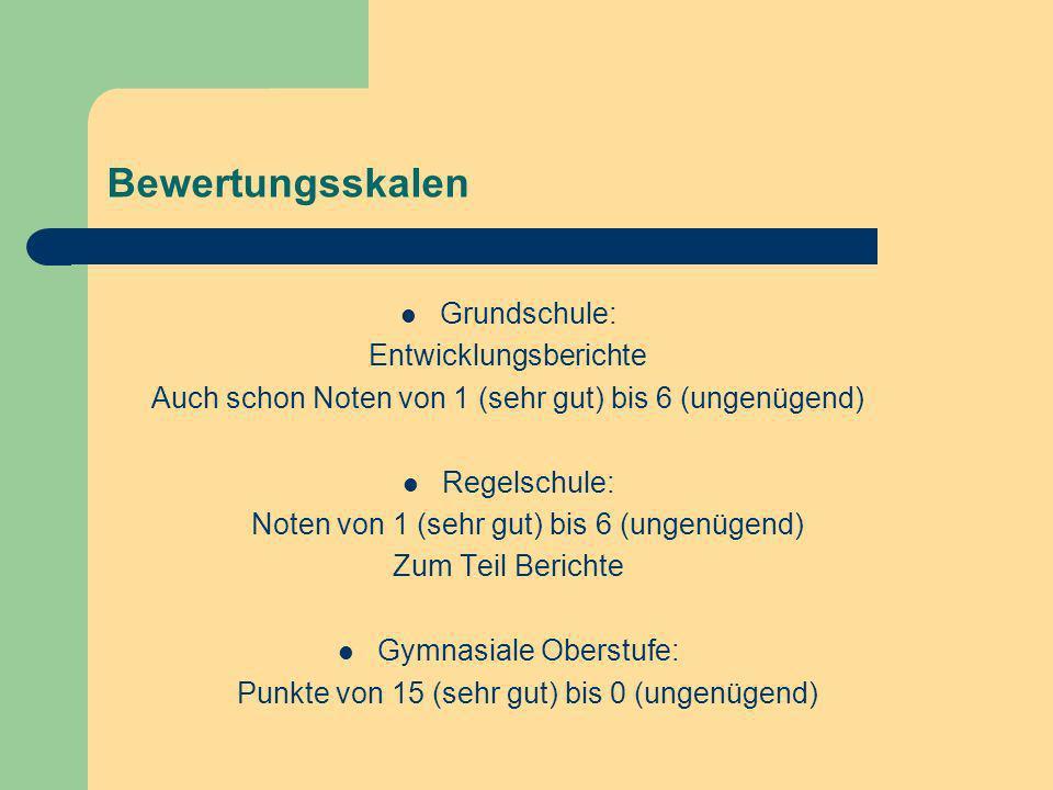 Bewertungsskalen Grundschule: Entwicklungsberichte