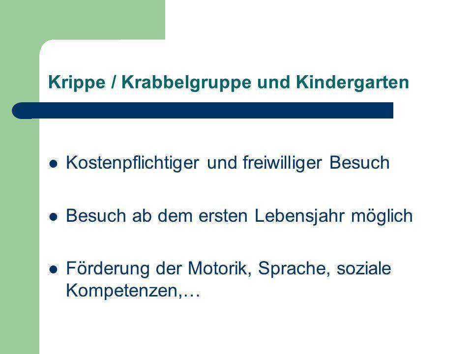 Krippe / Krabbelgruppe und Kindergarten