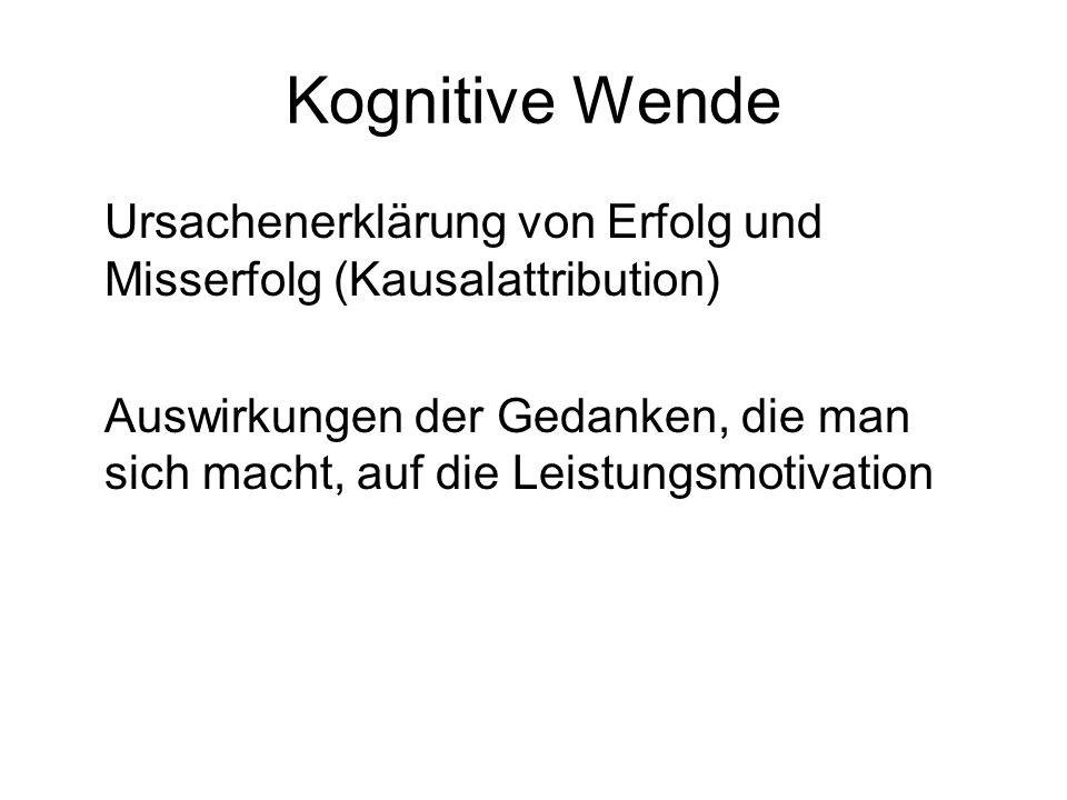 Kognitive Wende Ursachenerklärung von Erfolg und Misserfolg (Kausalattribution)