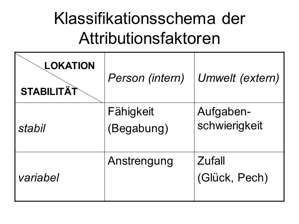 Klassifikationsschema der Attributionsfaktoren
