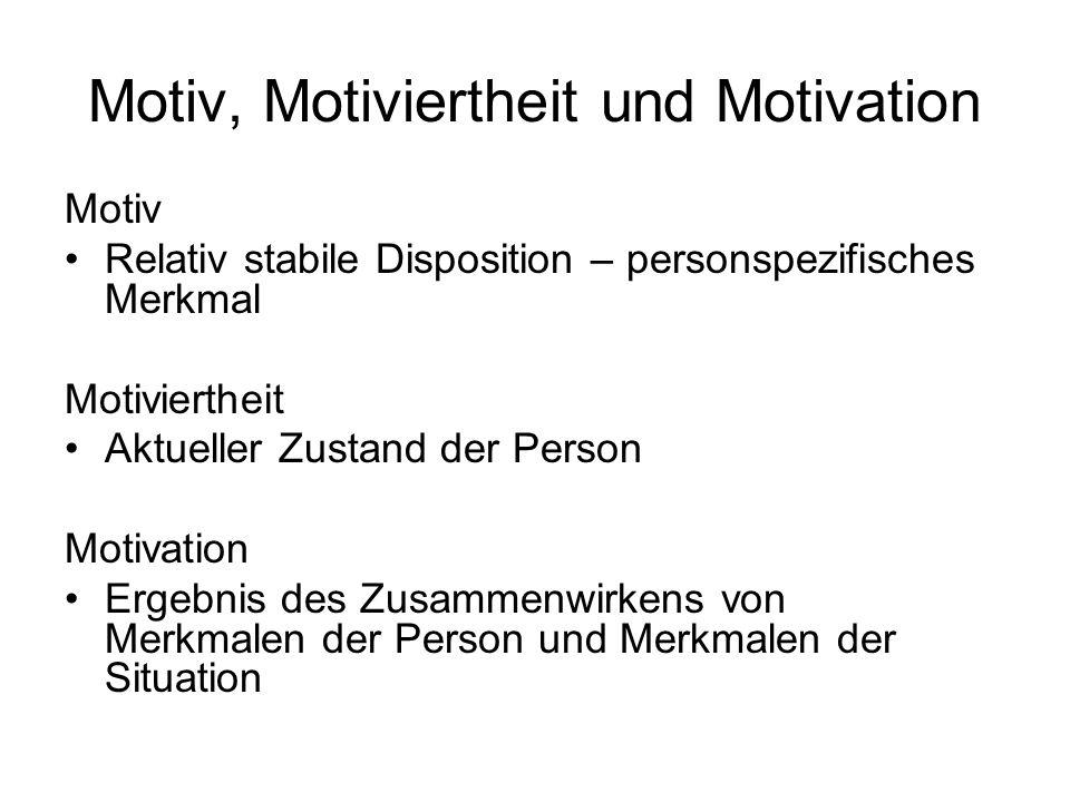 Motiv, Motiviertheit und Motivation