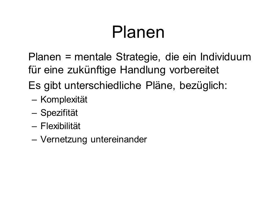 Planen Planen = mentale Strategie, die ein Individuum für eine zukünftige Handlung vorbereitet. Es gibt unterschiedliche Pläne, bezüglich: