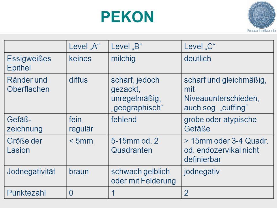 "PEKON Level ""A Level ""B Level ""C Essigweißes Epithel keines milchig"