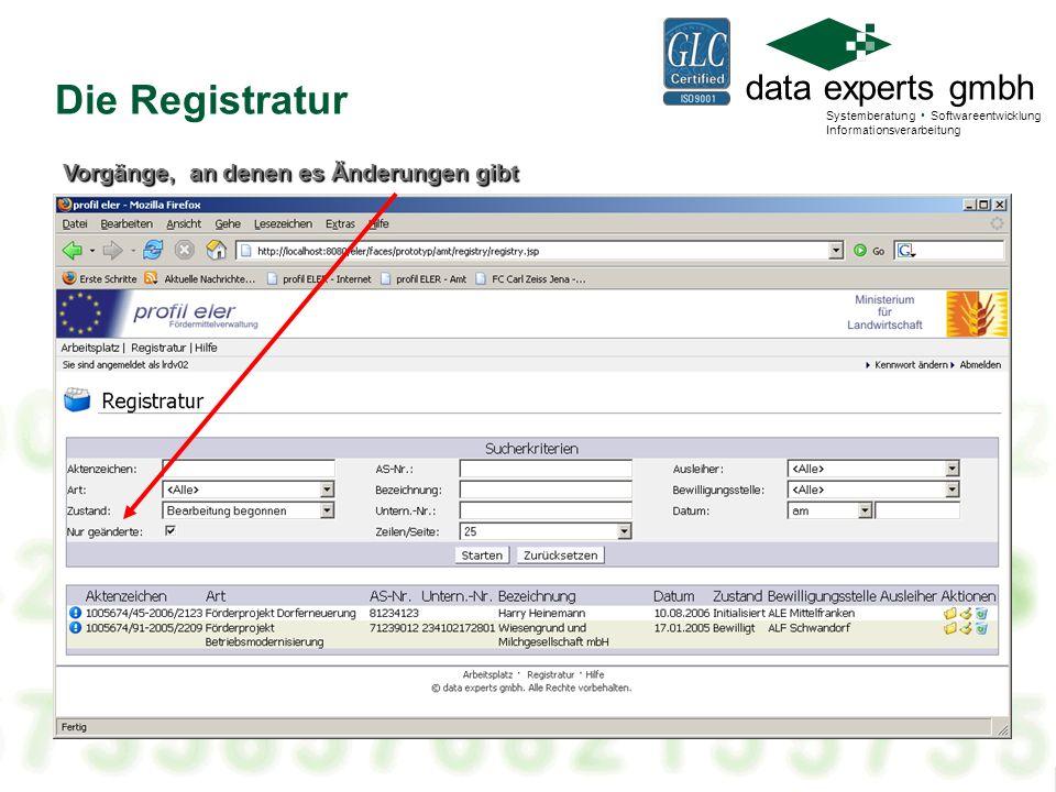 Die Registratur Vorgänge, an denen es Änderungen gibt