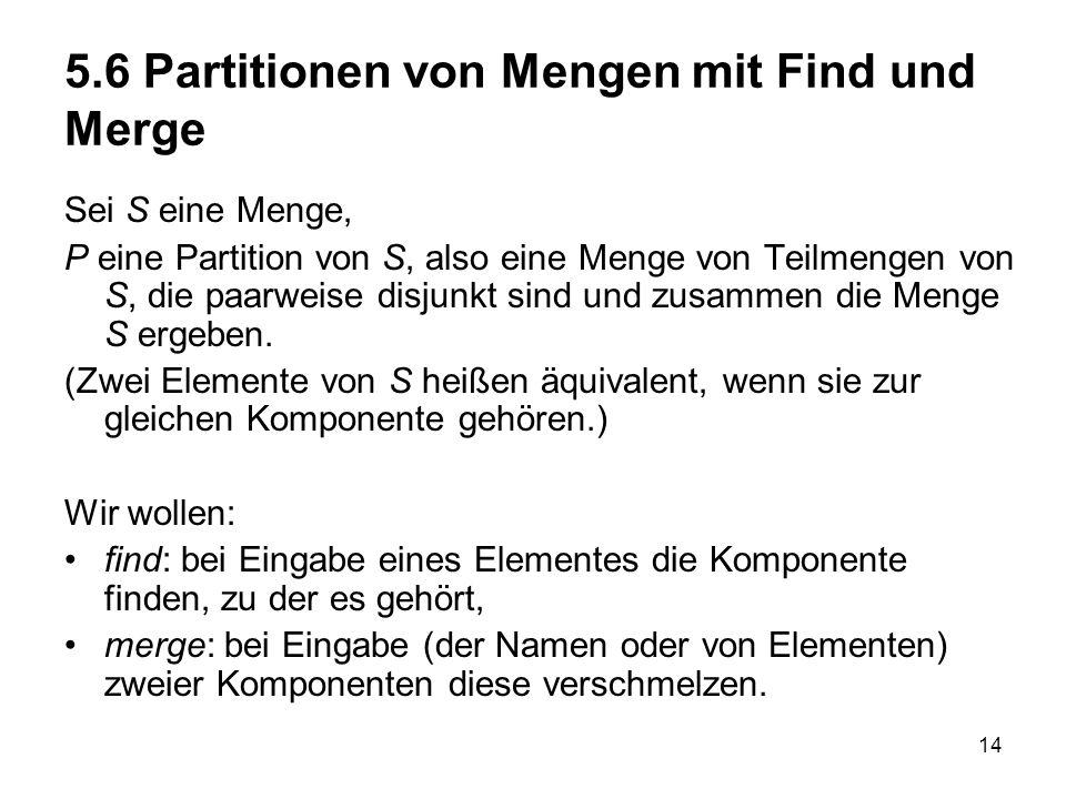 5.6 Partitionen von Mengen mit Find und Merge