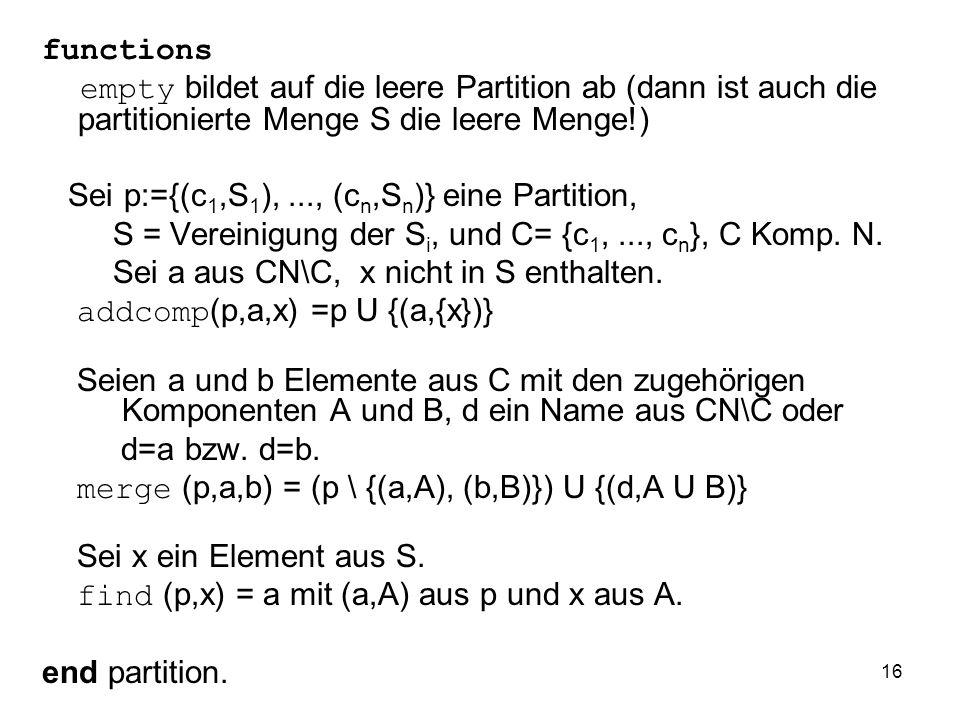 functions empty bildet auf die leere Partition ab (dann ist auch die partitionierte Menge S die leere Menge!)