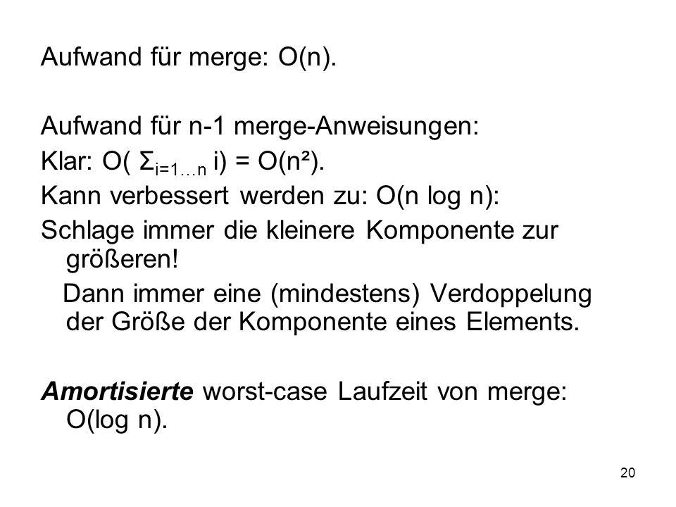 Aufwand für merge: O(n).