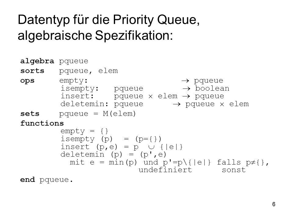 Datentyp für die Priority Queue, algebraische Spezifikation: