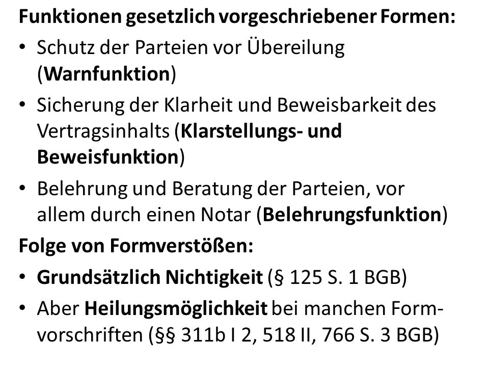Funktionen gesetzlich vorgeschriebener Formen: