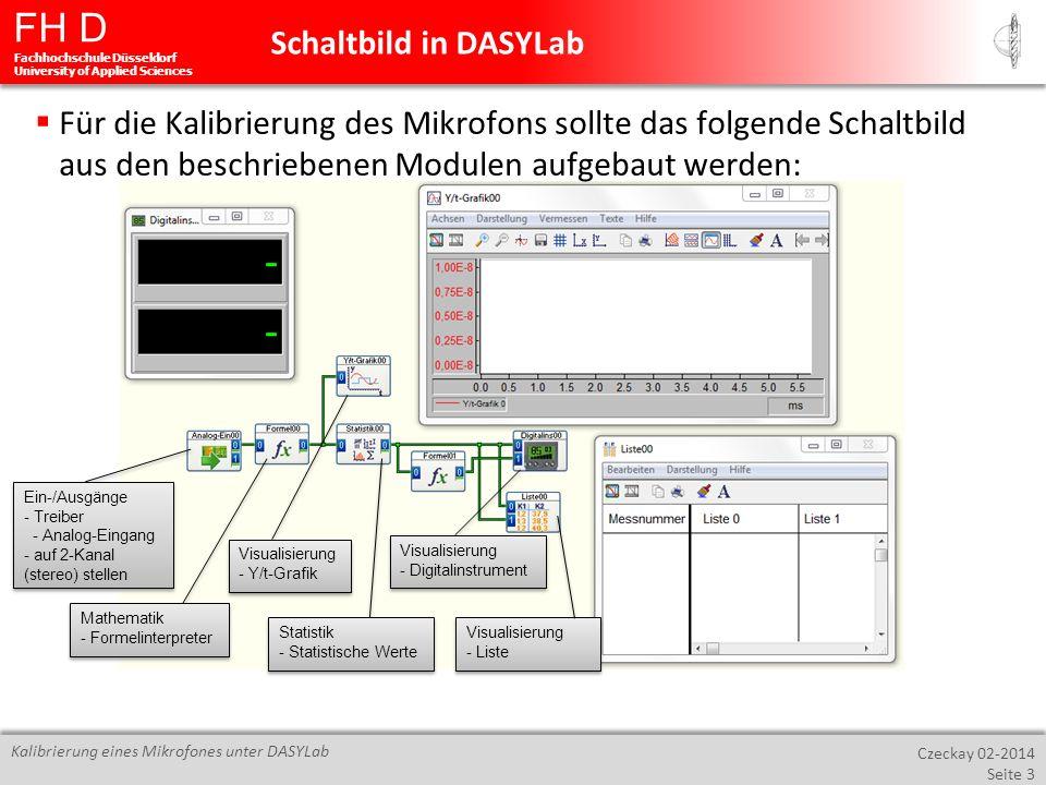 Schaltbild in DASYLab Für die Kalibrierung des Mikrofons sollte das folgende Schaltbild aus den beschriebenen Modulen aufgebaut werden: