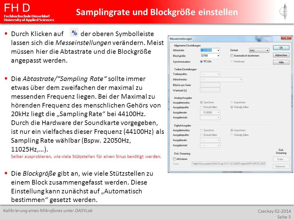 Samplingrate und Blockgröße einstellen