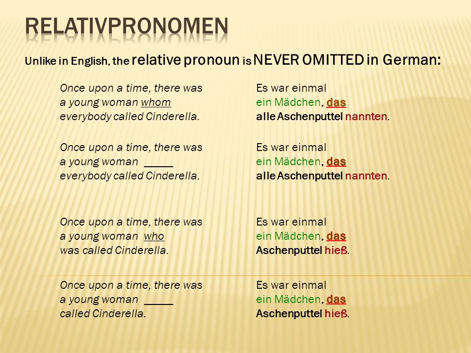 Relativpronomen Unlike in English, the relative pronoun is NEVER OMITTED in German: Once upon a time, there was.