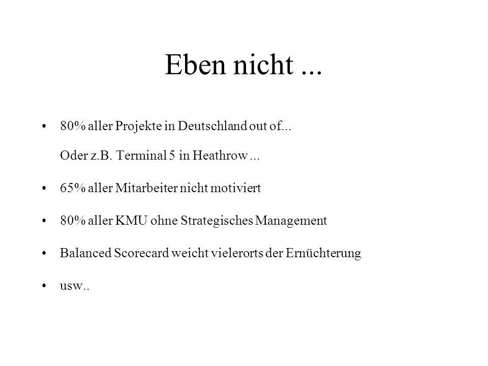 Eben nicht ... 80% aller Projekte in Deutschland out of... Oder z.B. Terminal 5 in Heathrow ... 65% aller Mitarbeiter nicht motiviert.