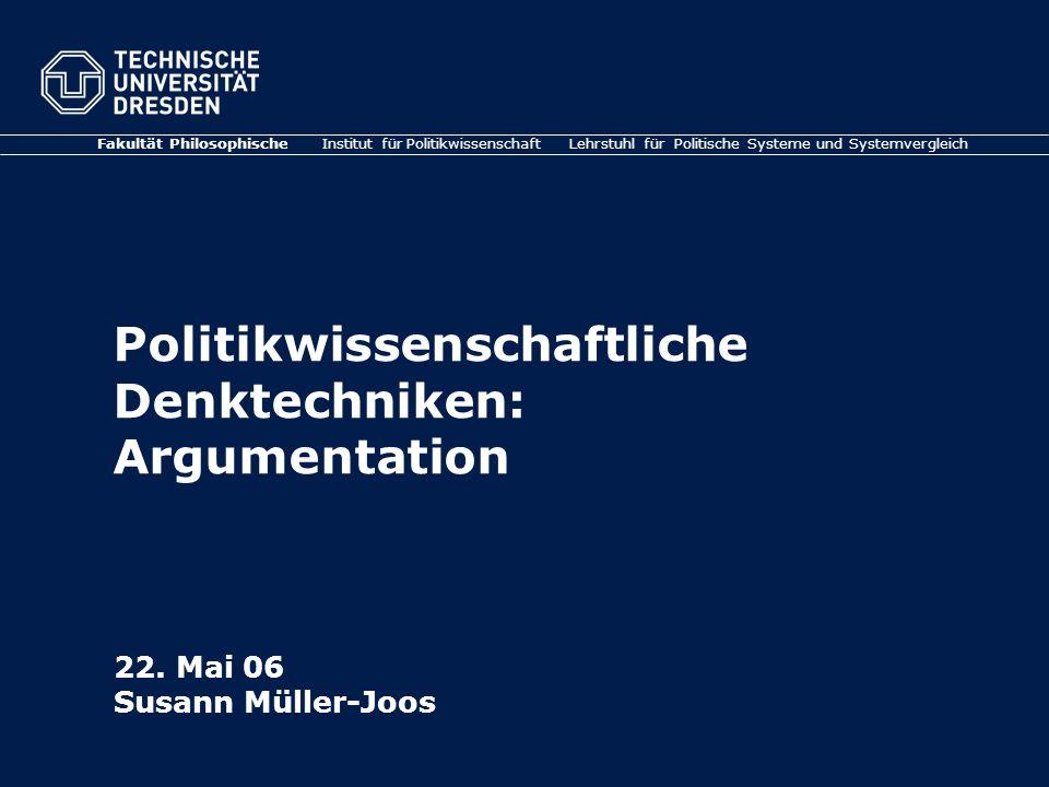 Politikwissenschaftliche Denktechniken: Argumentation