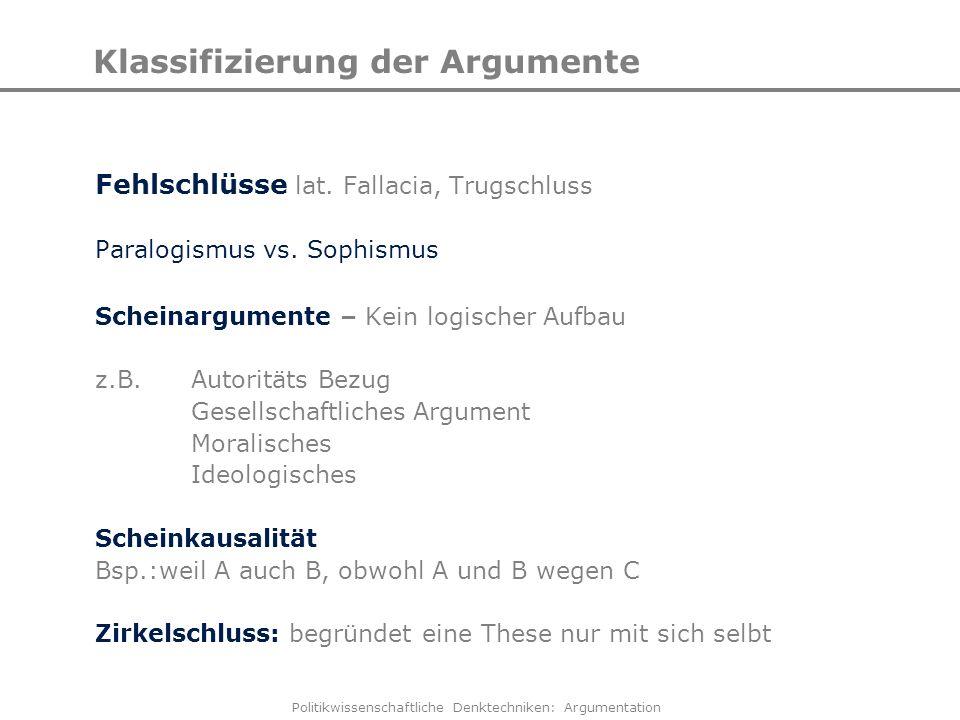 Klassifizierung der Argumente
