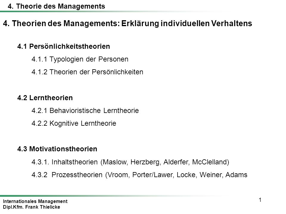 4. Theorie des Managements