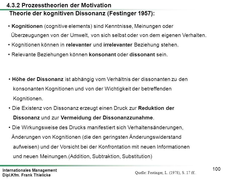 Theorie der kognitiven Dissonanz (Festinger 1957):