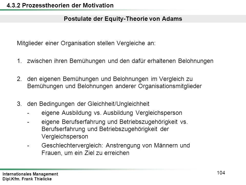 Postulate der Equity-Theorie von Adams