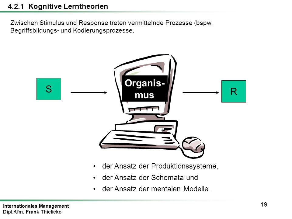 Organis- mus S R 4.2.1 Kognitive Lerntheorien