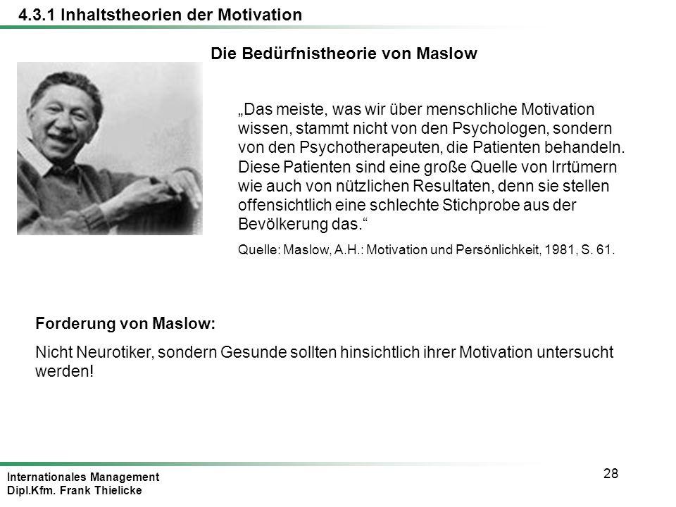 Die Bedürfnistheorie von Maslow