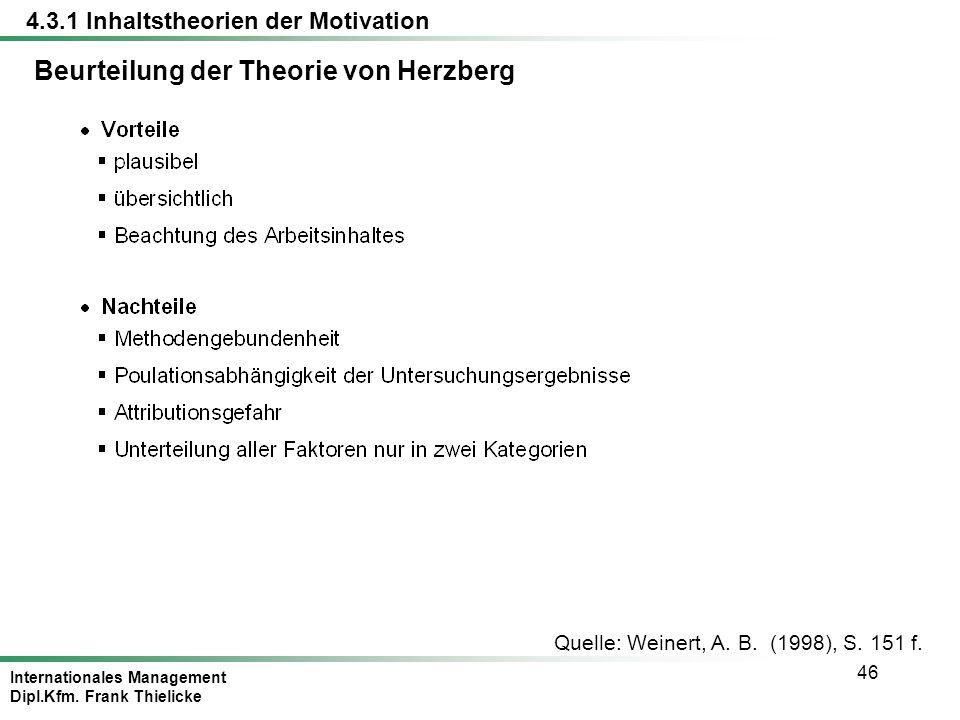 Beurteilung der Theorie von Herzberg