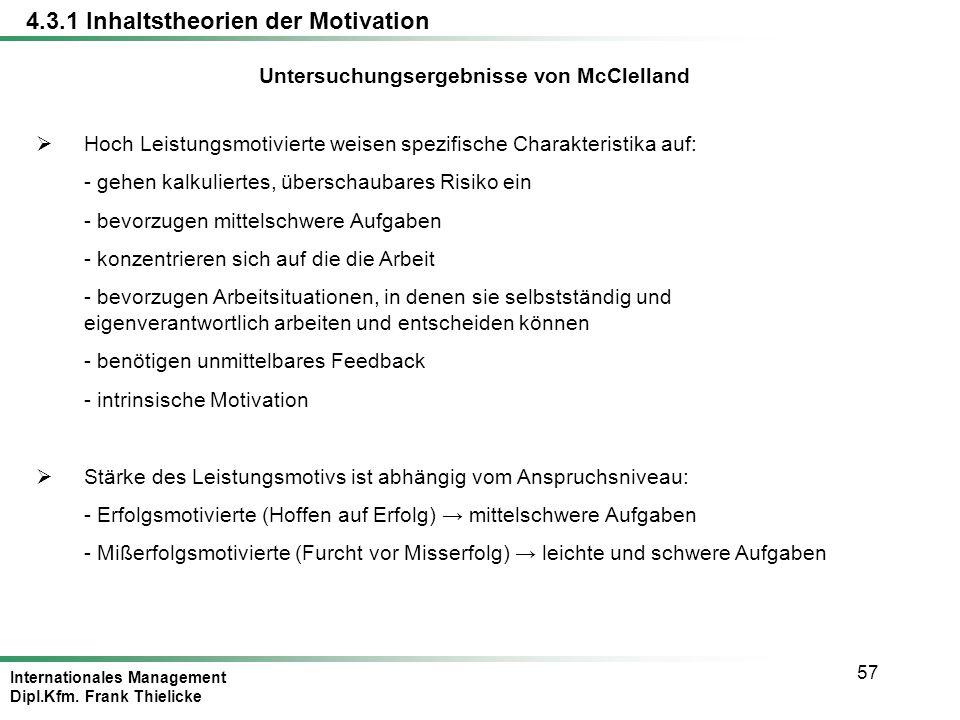 Untersuchungsergebnisse von McClelland