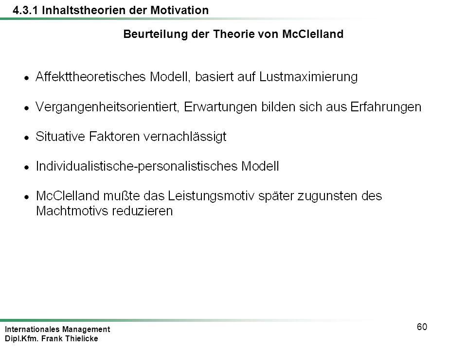 Beurteilung der Theorie von McClelland