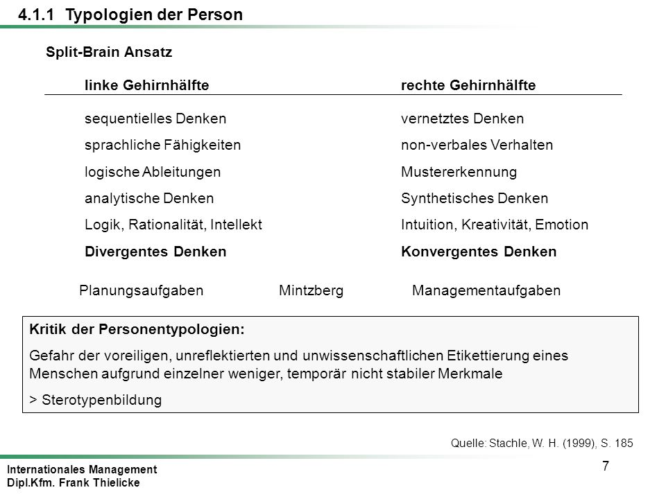4.1.1 Typologien der Person Split-Brain Ansatz linke Gehirnhälfte