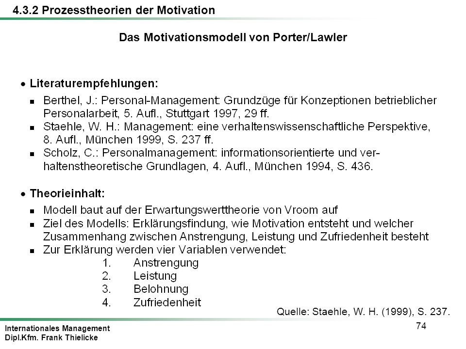 Das Motivationsmodell von Porter/Lawler