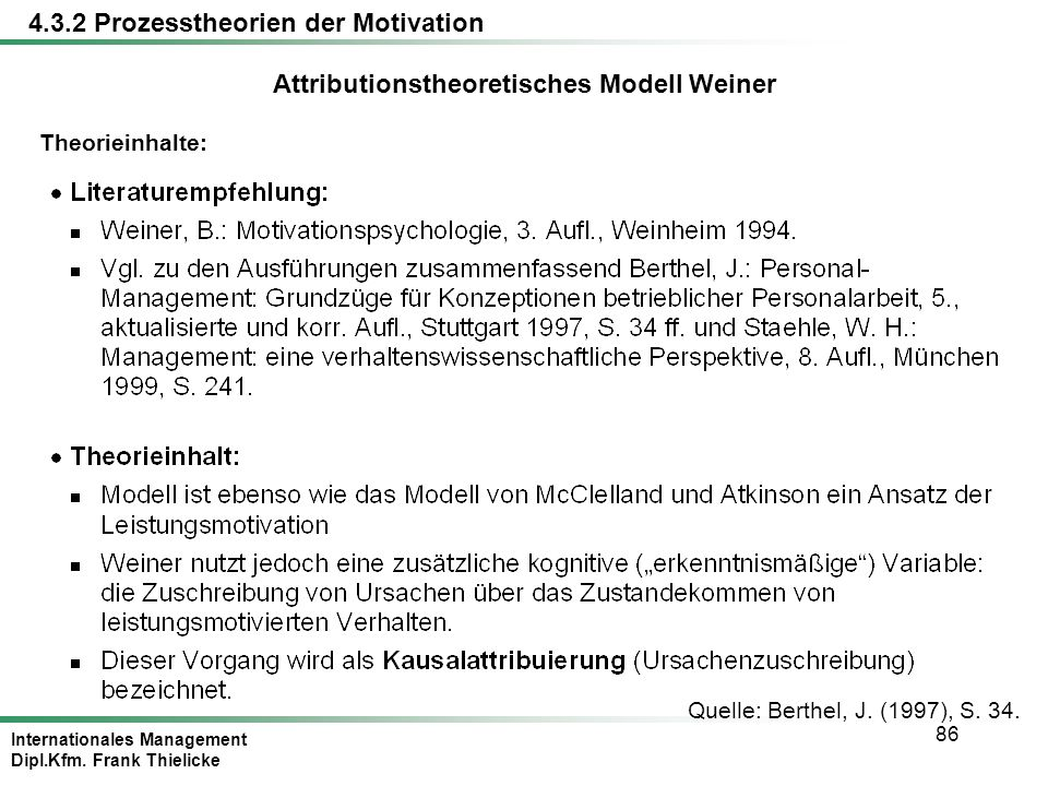 Attributionstheoretisches Modell Weiner