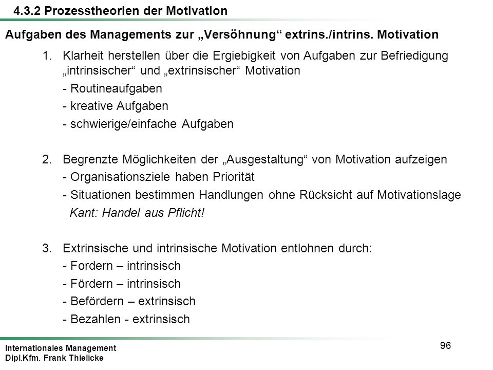 "Aufgaben des Managements zur ""Versöhnung extrins./intrins. Motivation"