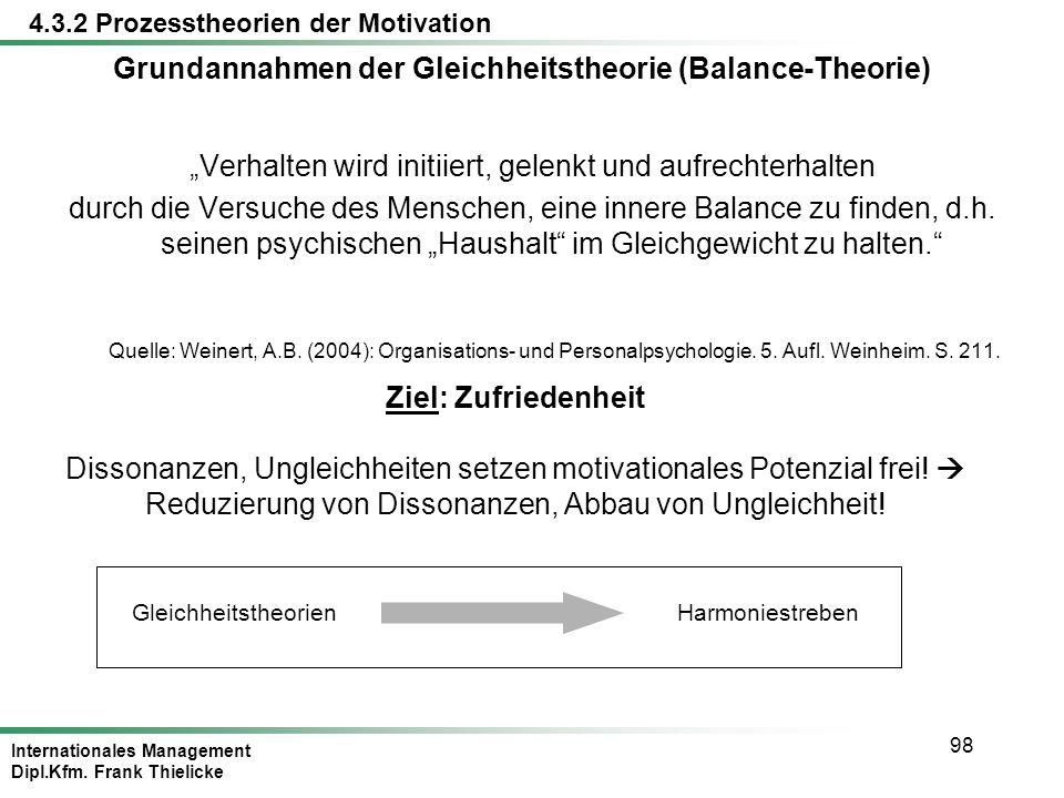 Grundannahmen der Gleichheitstheorie (Balance-Theorie)