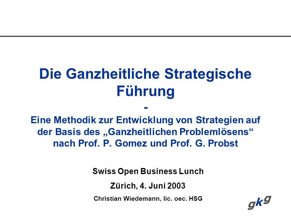 Swiss Open Business Lunch Christian Wiedemann, lic. oec. HSG