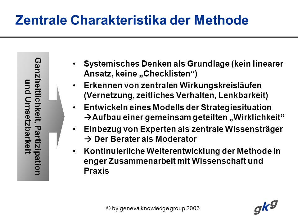 Zentrale Charakteristika der Methode