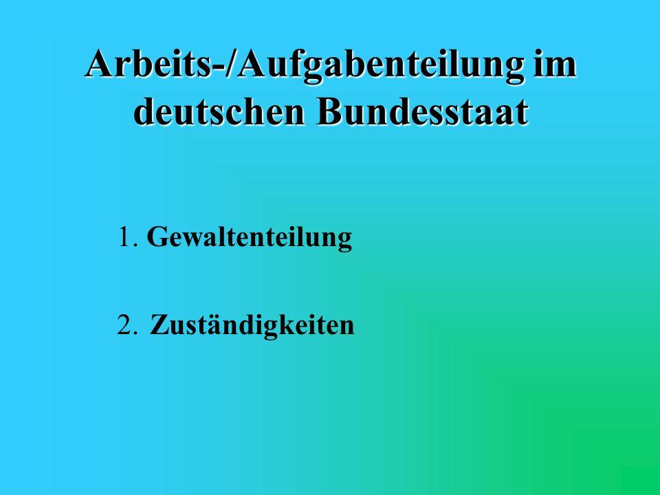 Arbeits-/Aufgabenteilung im deutschen Bundesstaat
