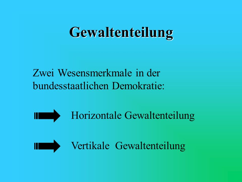 Gewaltenteilung Zwei Wesensmerkmale in der bundesstaatlichen Demokratie: Horizontale Gewaltenteilung.