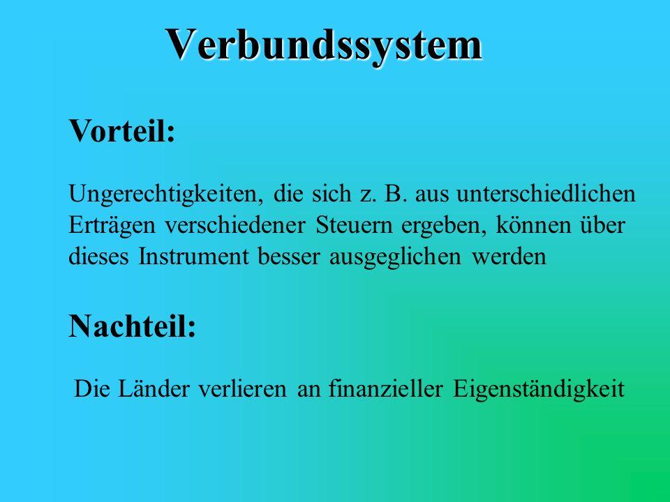 Verbundssystem Vorteil: Nachteil:
