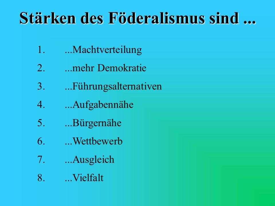 Stärken des Föderalismus sind ...