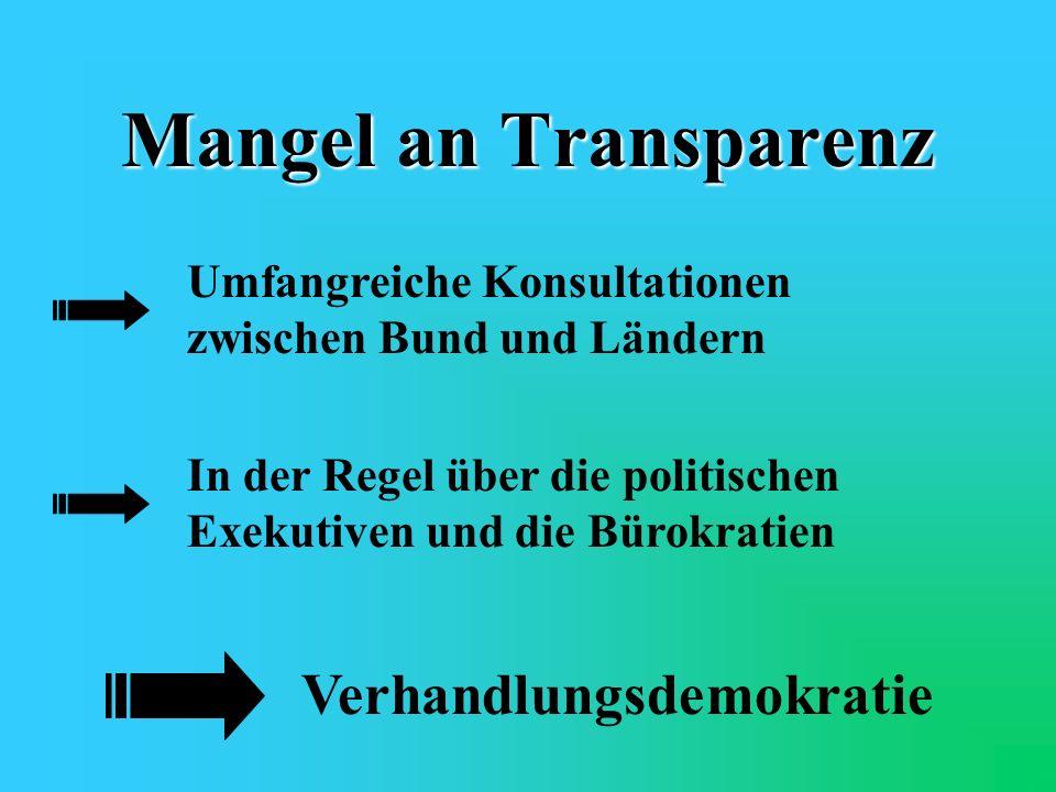 Mangel an Transparenz Verhandlungsdemokratie