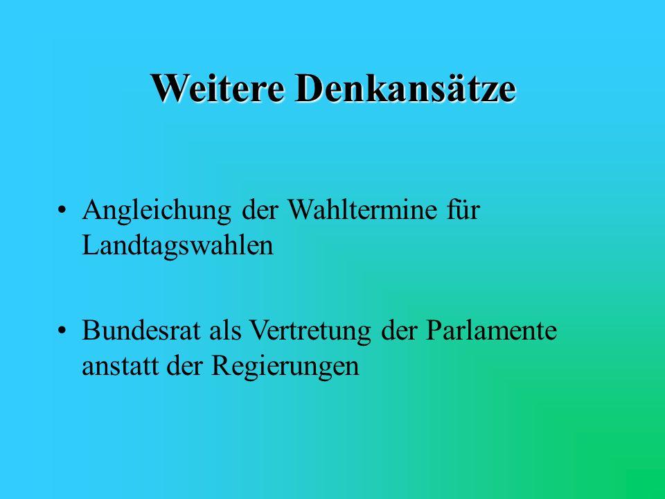 Weitere Denkansätze Angleichung der Wahltermine für Landtagswahlen