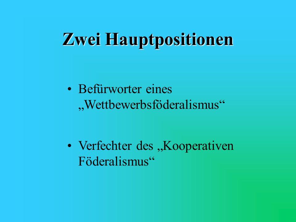 """Zwei Hauptpositionen Befürworter eines """"Wettbewerbsföderalismus"""