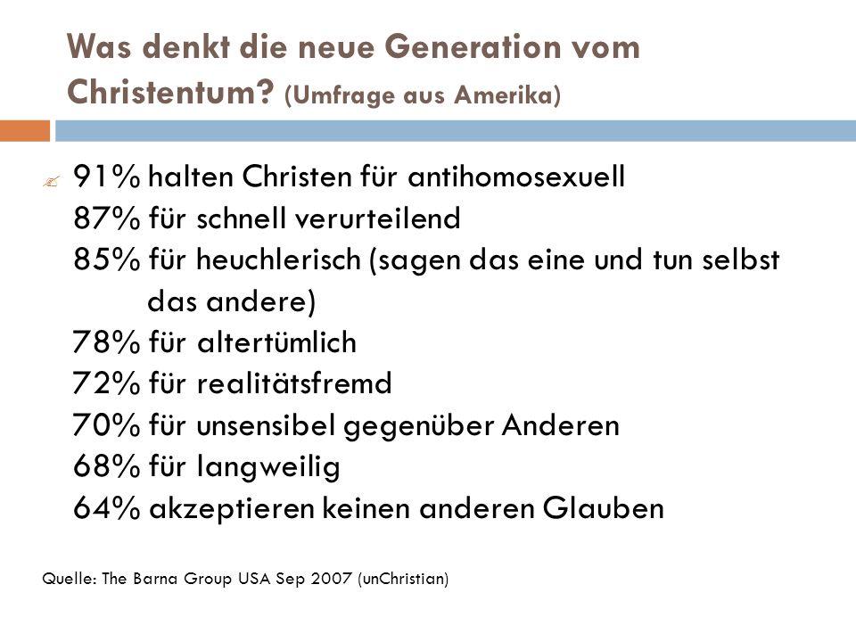 Was denkt die neue Generation vom Christentum (Umfrage aus Amerika)