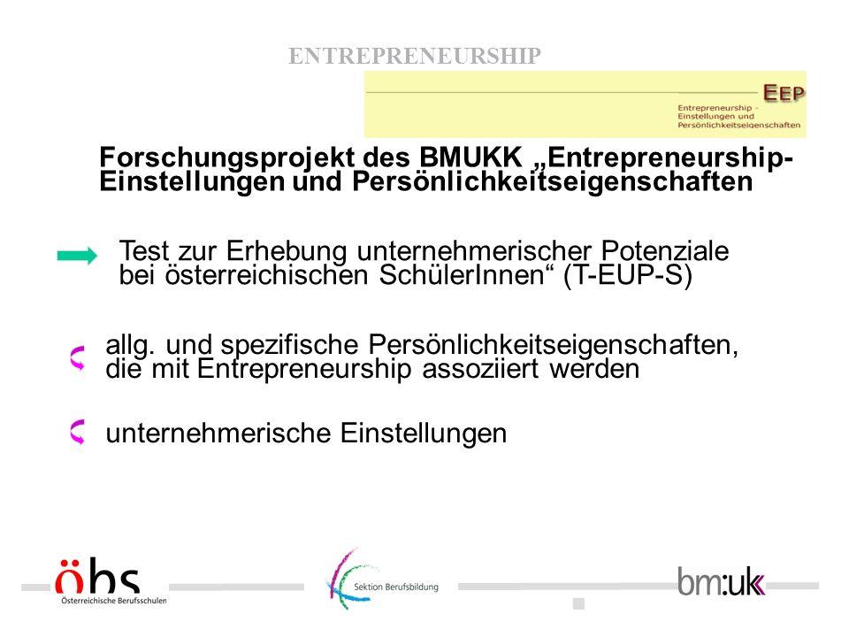 """Forschungsprojekt des BMUKK """"Entrepreneurship- Einstellungen und Persönlichkeitseigenschaften"""