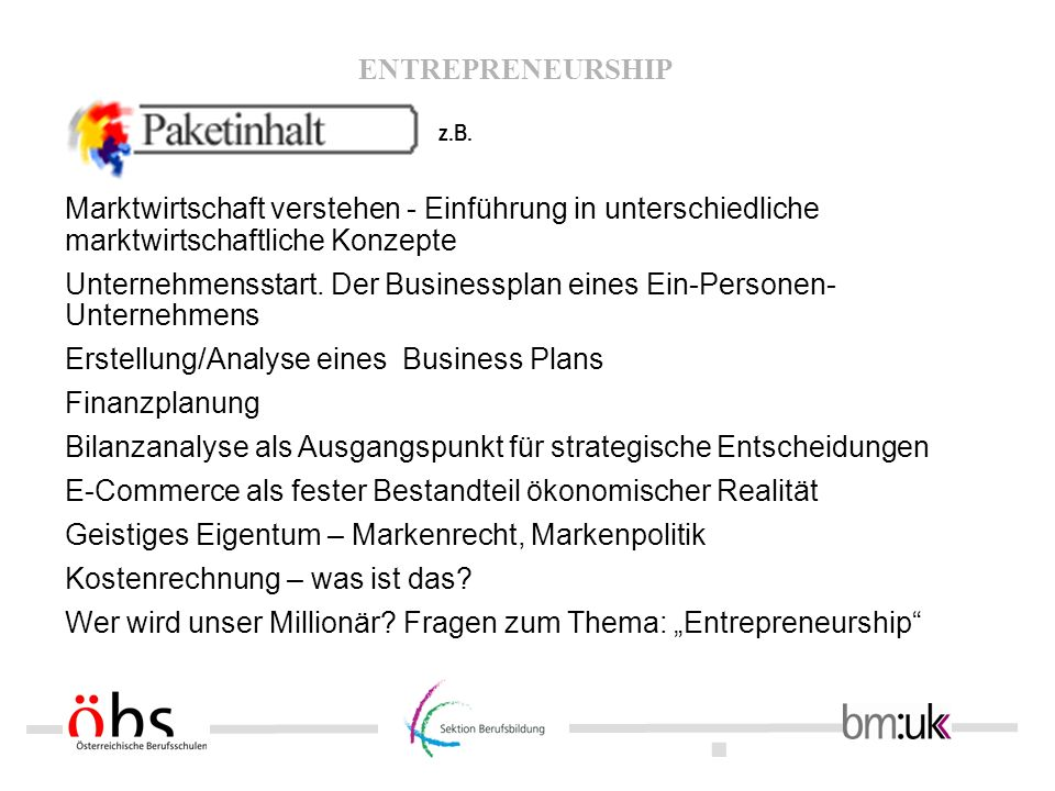 Unternehmensstart. Der Businessplan eines Ein-Personen-Unternehmens