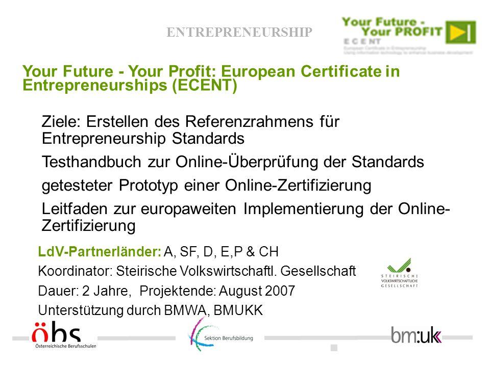 Ziele: Erstellen des Referenzrahmens für Entrepreneurship Standards