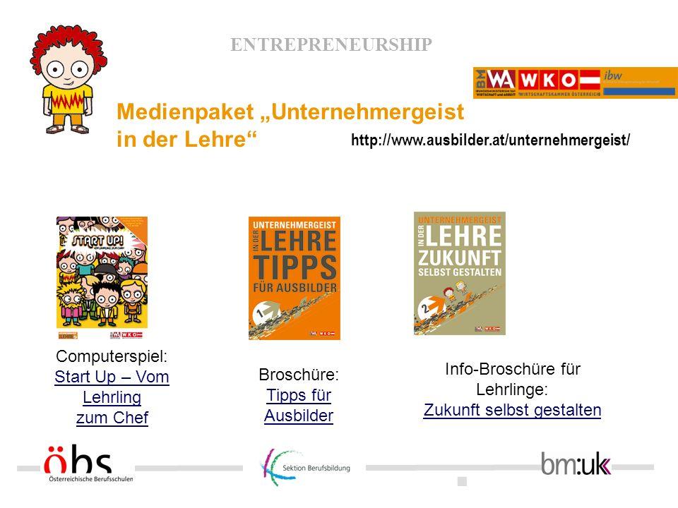 """Medienpaket """"Unternehmergeist in der Lehre"""
