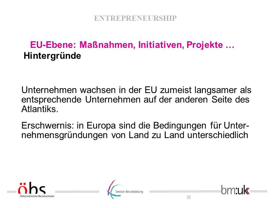 EU-Ebene: Maßnahmen, Initiativen, Projekte …