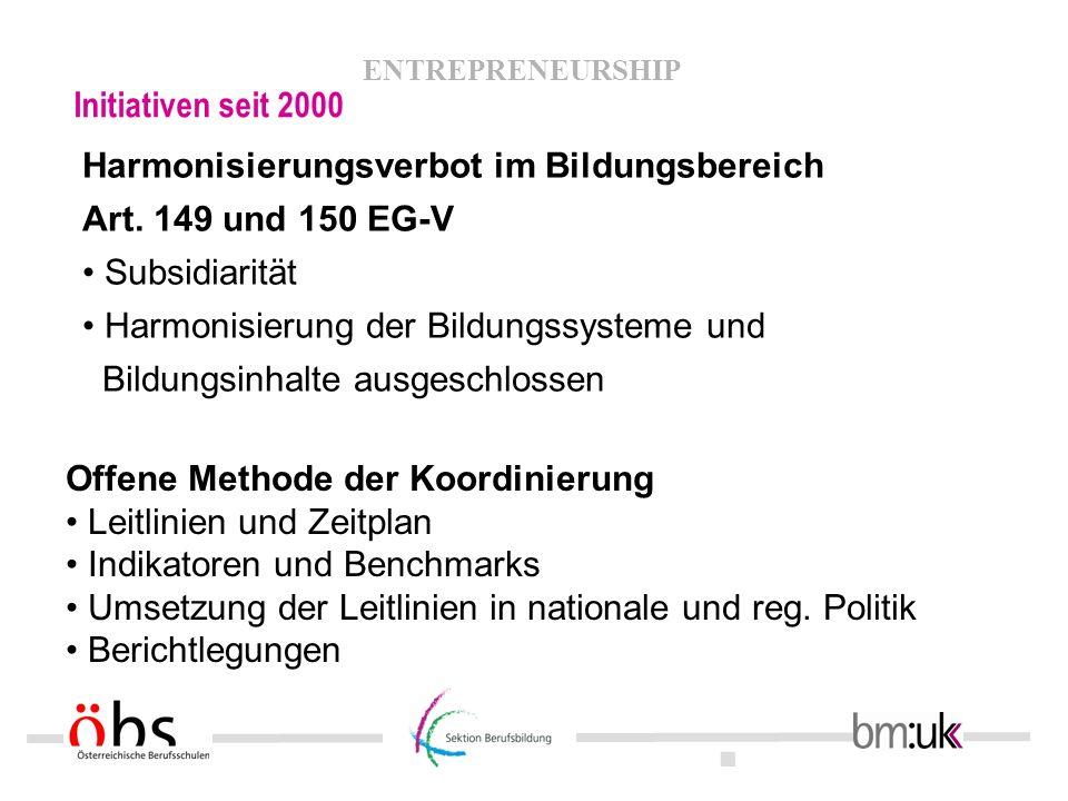 Initiativen seit 2000 Harmonisierungsverbot im Bildungsbereich. Art. 149 und 150 EG-V. • Subsidiarität.