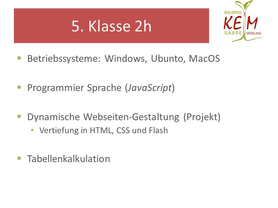 5. Klasse 2h Betriebssysteme: Windows, Ubunto, MacOS