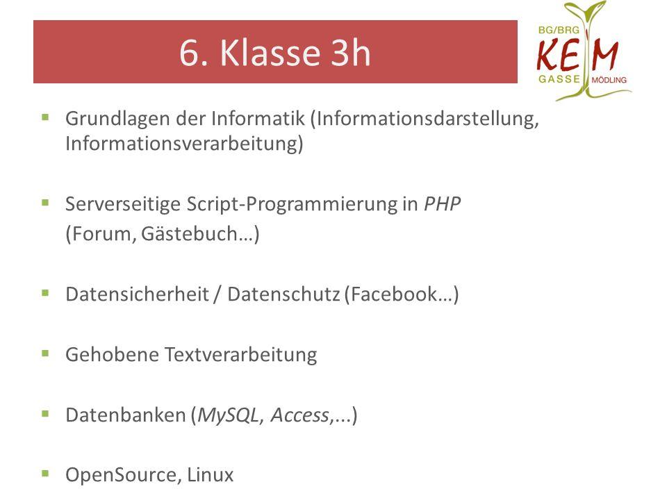 6. Klasse 3h Grundlagen der Informatik (Informationsdarstellung, Informationsverarbeitung) Serverseitige Script-Programmierung in PHP.
